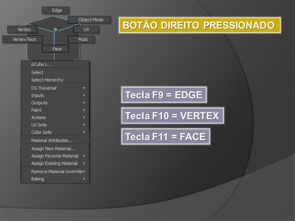BOTÃO DIREITO PRESSIONADO Tecla F9 = EDGE Tecla F10 = VERTEX Tecla F11 = FACE