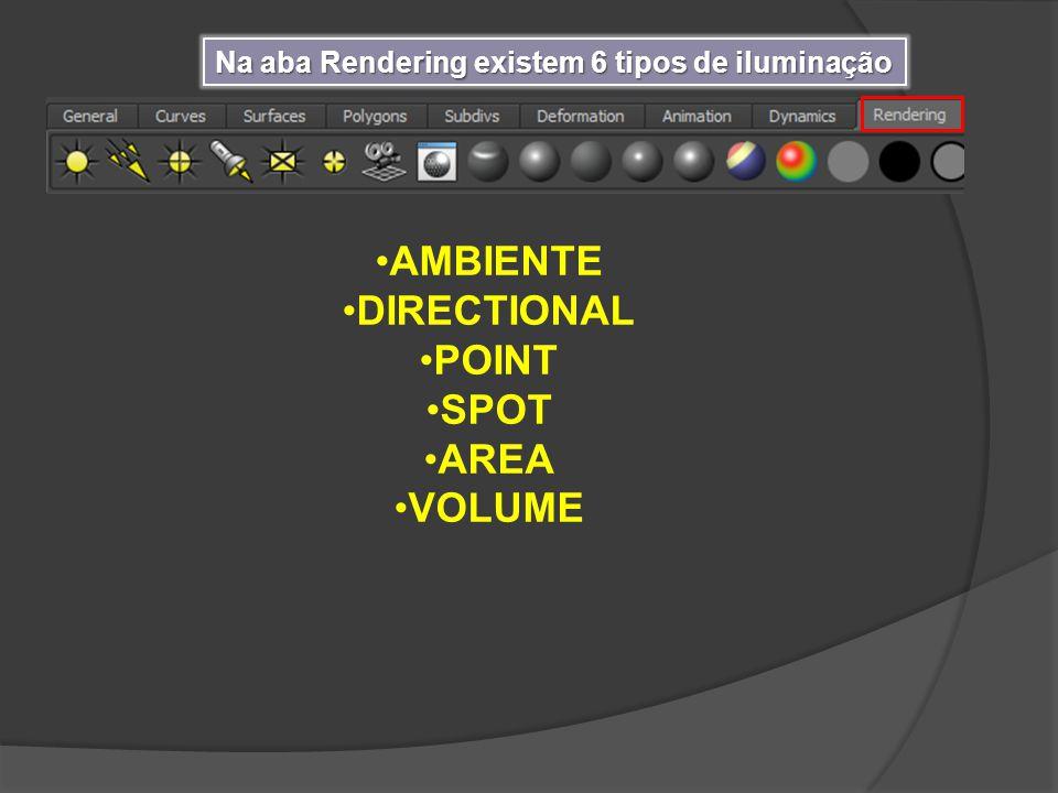 Na aba Rendering existem 6 tipos de iluminação AMBIENTE DIRECTIONAL POINT SPOT AREA VOLUME