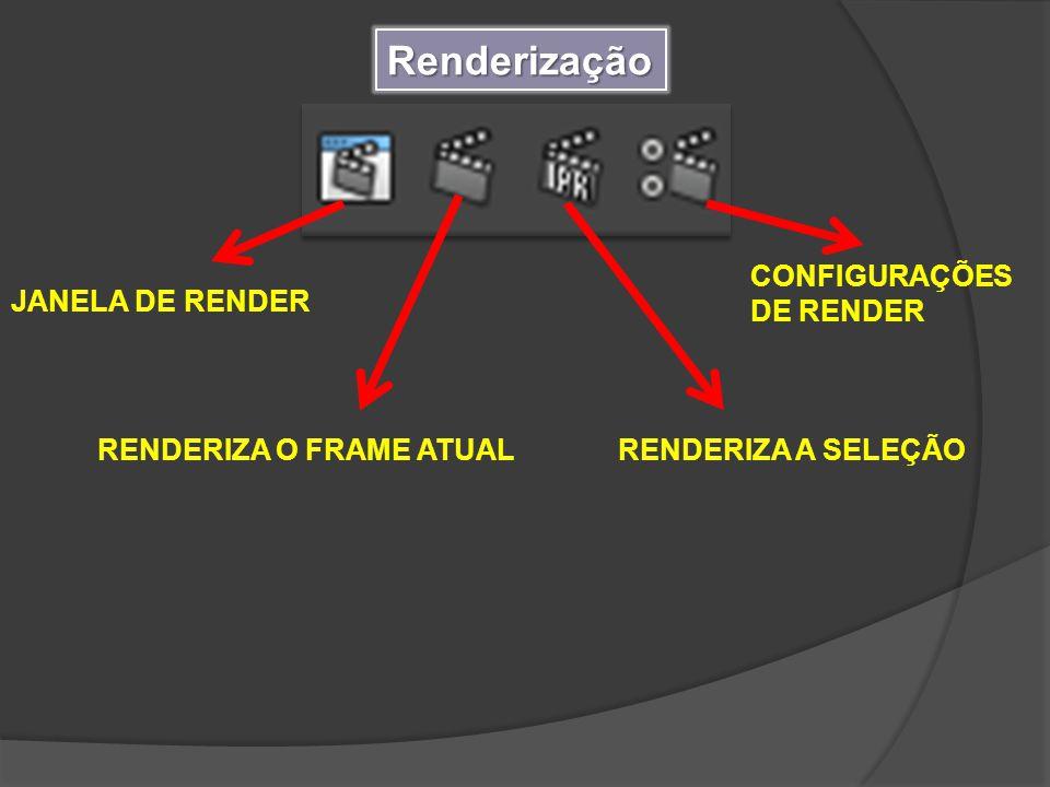 Renderização JANELA DE RENDER RENDERIZA O FRAME ATUALRENDERIZA A SELEÇÃO CONFIGURAÇÕES DE RENDER