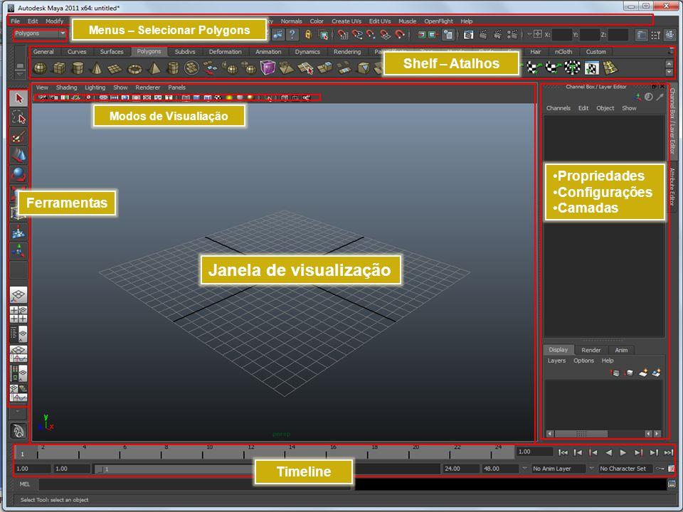Janela de visualização Modos de Visualiação Menus – Selecionar Polygons Propriedades Configurações Camadas Shelf – Atalhos Ferramentas Timeline