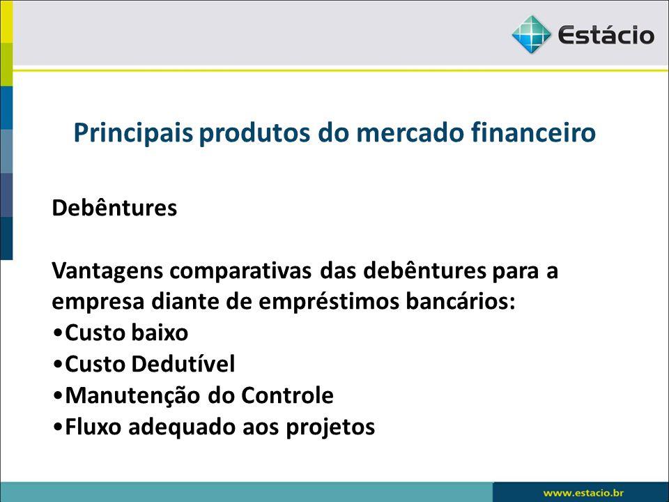 Principais produtos do mercado financeiro Debêntures Vantagens comparativas das debêntures para a empresa diante de empréstimos bancários: Custo baixo