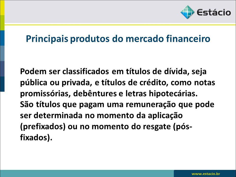 Principais produtos do mercado financeiro Debêntures Vantagens comparativas das debêntures para a empresa diante de empréstimos bancários: Custo baixo Custo Dedutível Manutenção do Controle Fluxo adequado aos projetos