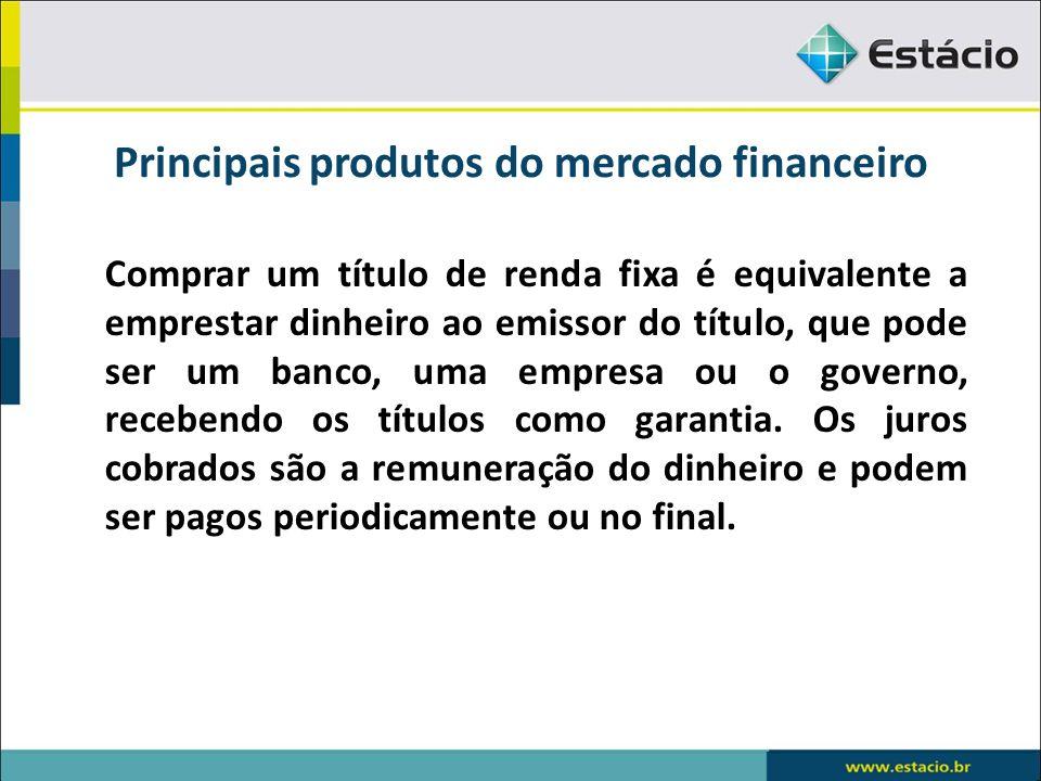 Principais produtos do mercado financeiro Comprar um título de renda fixa é equivalente a emprestar dinheiro ao emissor do título, que pode ser um ban