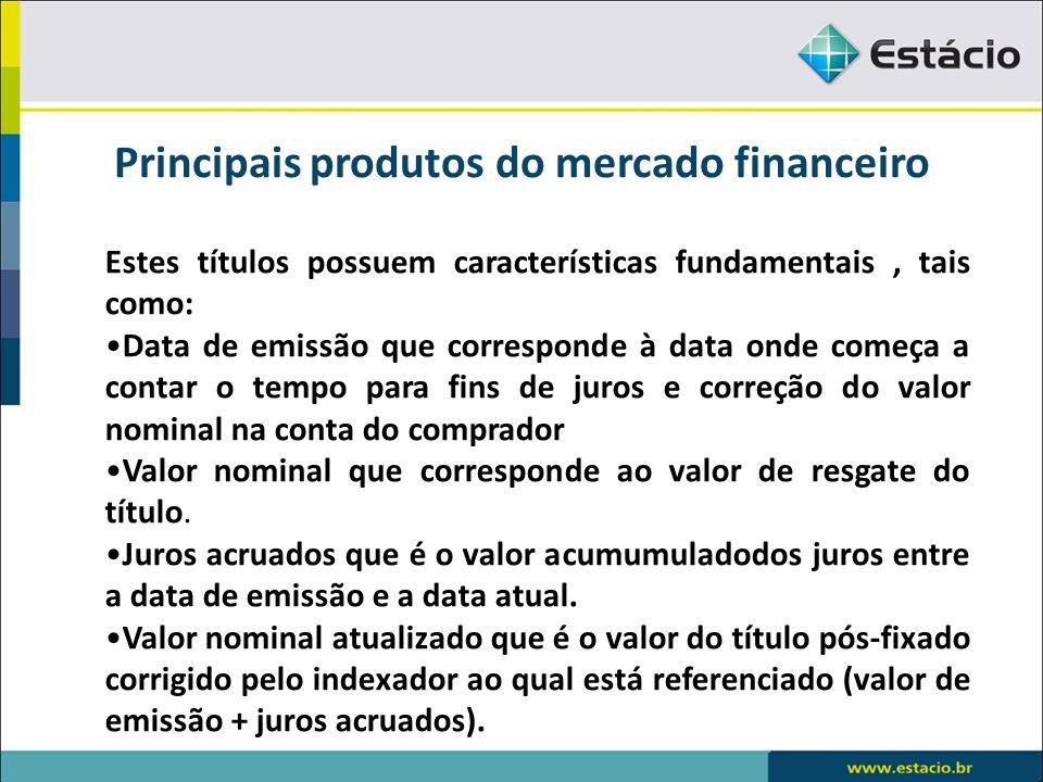 Principais produtos do mercado financeiro Debêntures Podem oferecer quatro tipos de garantias: Com garantia real Com garantia flutuante Sem gozar de preferência Subordinadas
