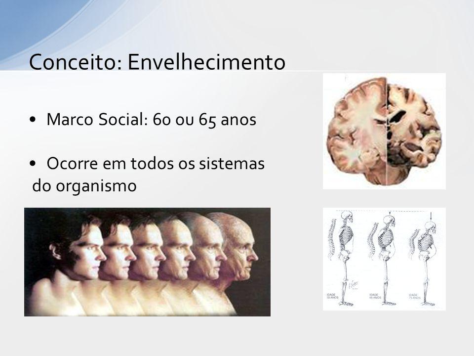 Marco Social: 60 ou 65 anos Ocorre em todos os sistemas do organismo Conceito: Envelhecimento