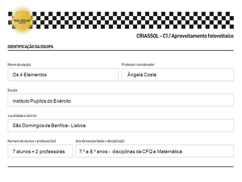 Ângela Costa Instituto Pupilos do Exército São Domingos de Benfica - Lisboa 7.º e 8.º anos - disciplinas de CFQ e Matemática Os 4 Elementos 7 alunos +