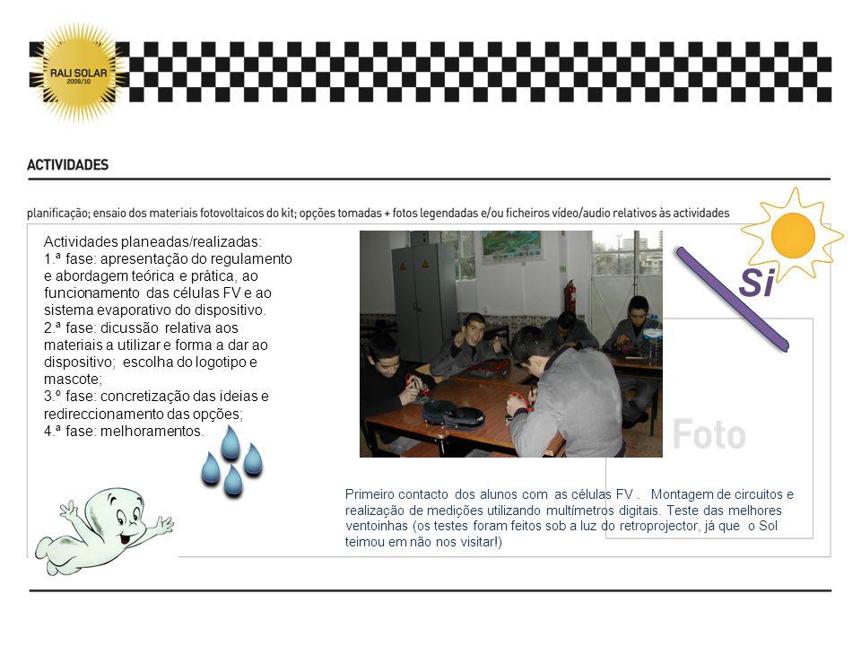 Actividades planeadas/realizadas: 1.ª fase: apresentação do regulamento e abordagem teórica e prática, ao funcionamento das células FV e ao sistema evaporativo do dispositivo.