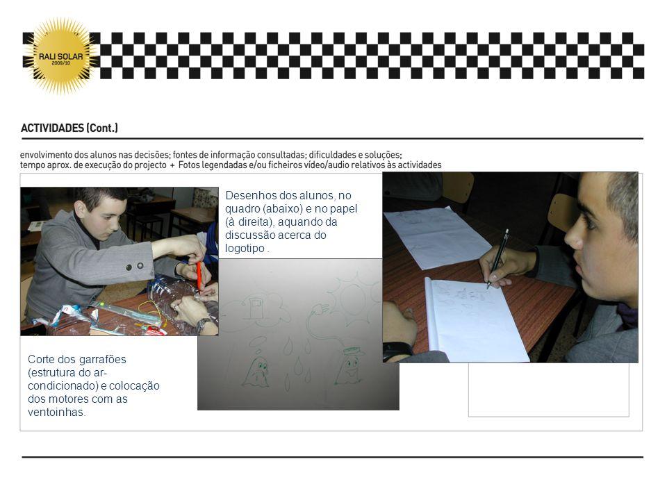 Desenhos dos alunos, no quadro (abaixo) e no papel (à direita), aquando da discussão acerca do logotipo. Corte dos garrafões (estrutura do ar- condici