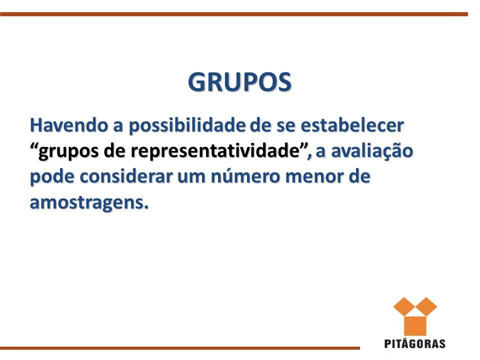 """GRUPOS Havendo a possibilidade de se estabelecer """"grupos de representatividade"""", a avaliação pode considerar um número menor de amostragens."""