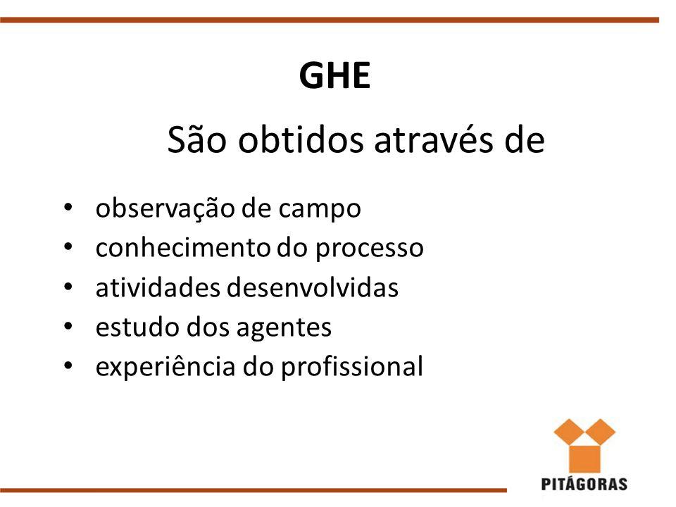 GHE São obtidos através de observação de campo conhecimento do processo atividades desenvolvidas estudo dos agentes experiência do profissional