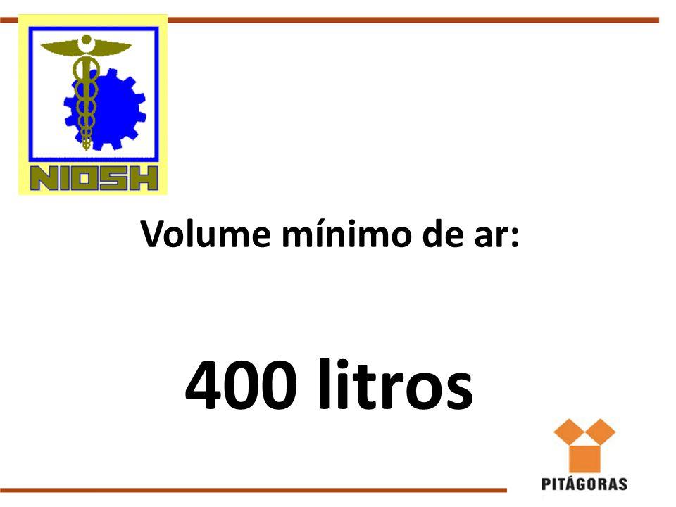 Volume mínimo de ar: 400 litros