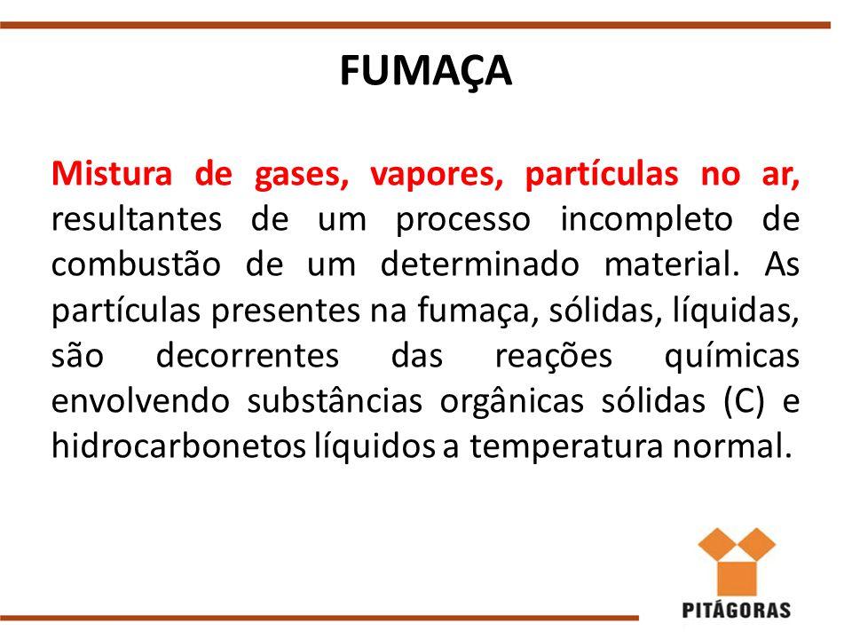 FUMAÇA Mistura de gases, vapores, partículas no ar, resultantes de um processo incompleto de combustão de um determinado material.