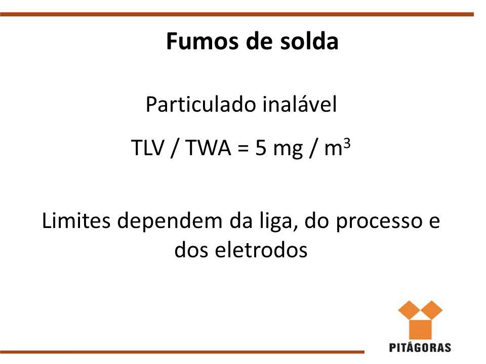 Fumos de solda Particulado inalável TLV / TWA = 5 mg / m 3 Limites dependem da liga, do processo e dos eletrodos