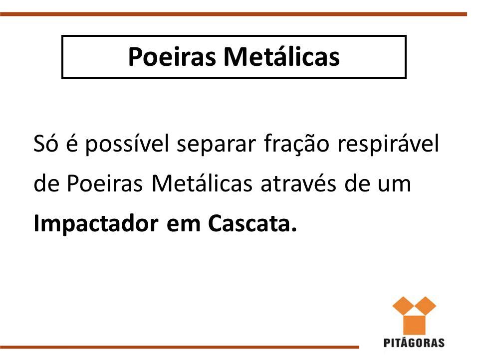 Só é possível separar fração respirável de Poeiras Metálicas através de um Impactador em Cascata.