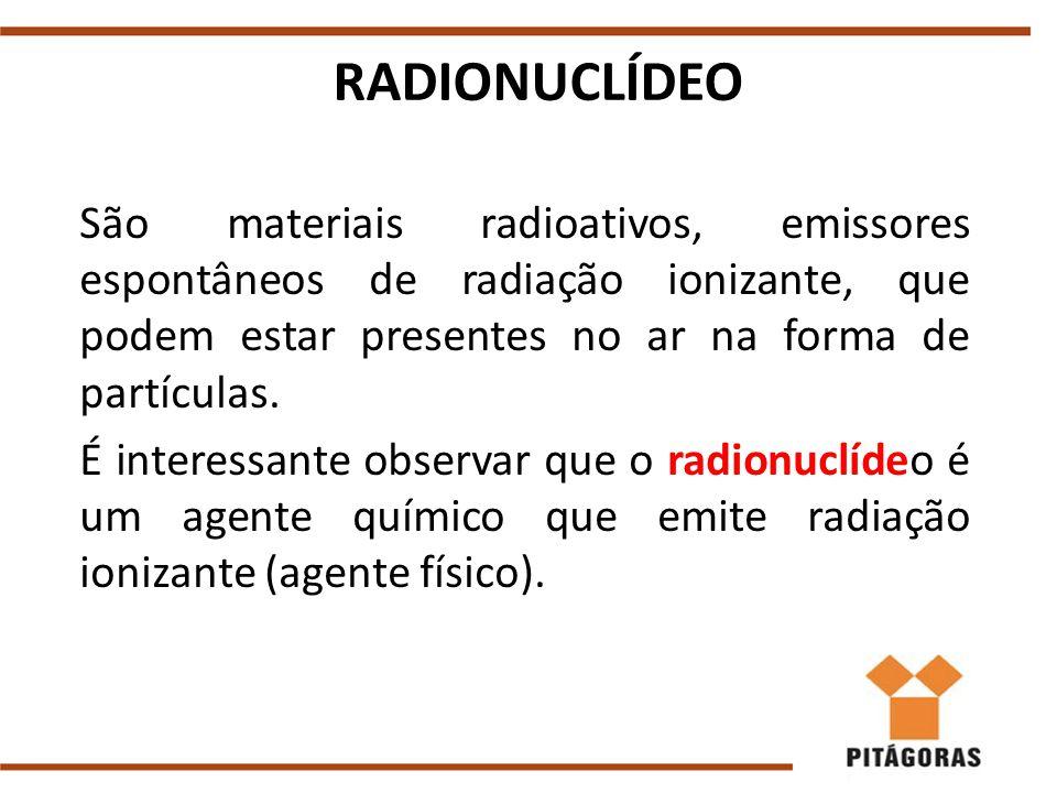 RADIONUCLÍDEO São materiais radioativos, emissores espontâneos de radiação ionizante, que podem estar presentes no ar na forma de partículas. É intere
