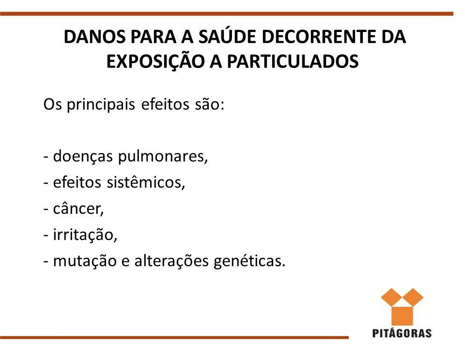 DANOS PARA A SAÚDE DECORRENTE DA EXPOSIÇÃO A PARTICULADOS Os principais efeitos são: - doenças pulmonares, - efeitos sistêmicos, - câncer, - irritação, - mutação e alterações genéticas.