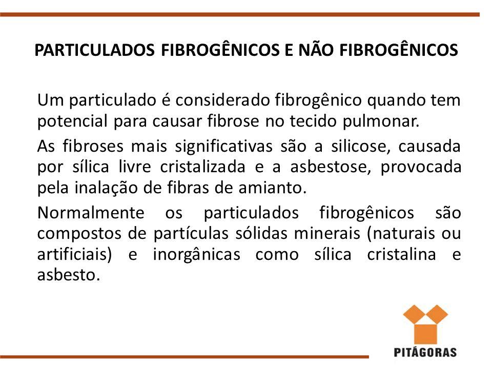 PARTICULADOS FIBROGÊNICOS E NÃO FIBROGÊNICOS Um particulado é considerado fibrogênico quando tem potencial para causar fibrose no tecido pulmonar. As