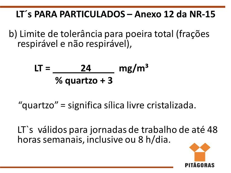 LT´s PARA PARTICULADOS – Anexo 12 da NR-15 b) Limite de tolerância para poeira total (frações respirável e não respirável), LT = 24 mg/m³ % quartzo + 3 quartzo = significa sílica livre cristalizada.