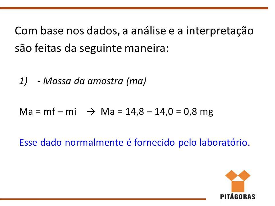 Com base nos dados, a análise e a interpretação são feitas da seguinte maneira: 1)- Massa da amostra (ma) Ma = mf – mi → Ma = 14,8 – 14,0 = 0,8 mg Esse dado normalmente é fornecido pelo laboratório.