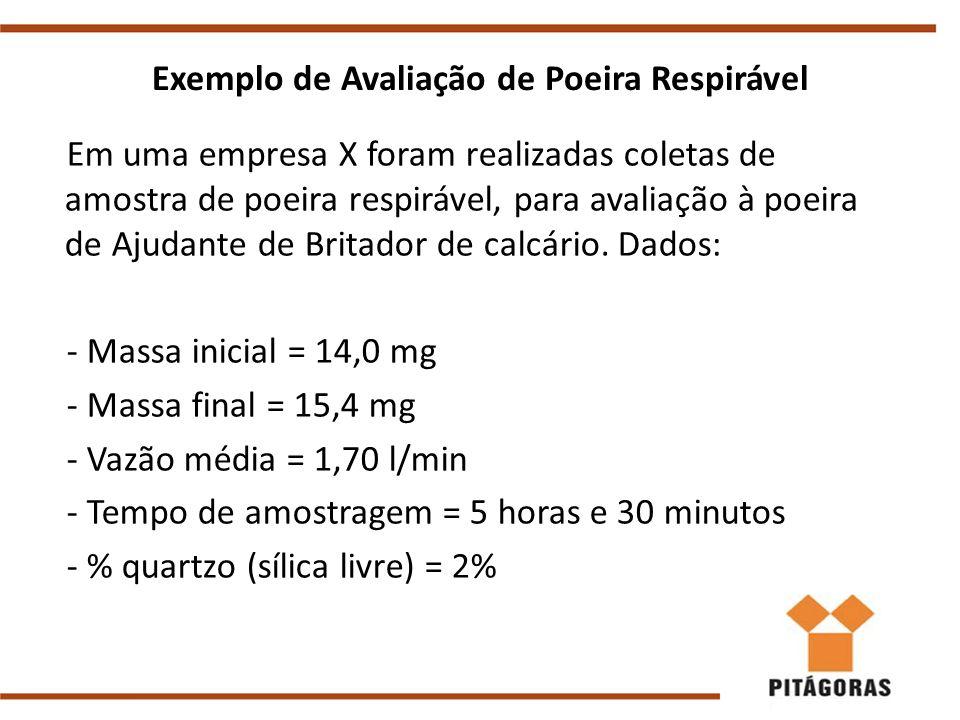 Exemplo de Avaliação de Poeira Respirável Em uma empresa X foram realizadas coletas de amostra de poeira respirável, para avaliação à poeira de Ajudante de Britador de calcário.