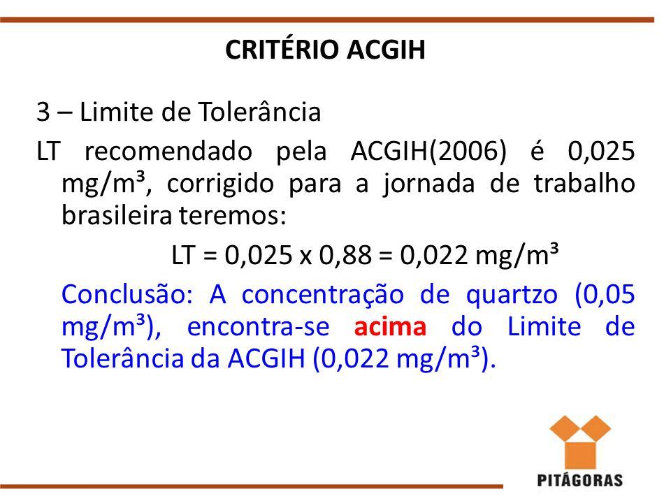 CRITÉRIO ACGIH 3 – Limite de Tolerância LT recomendado pela ACGIH(2006) é 0,025 mg/m³, corrigido para a jornada de trabalho brasileira teremos: LT = 0,025 x 0,88 = 0,022 mg/m³ Conclusão: A concentração de quartzo (0,05 mg/m³), encontra-se acima do Limite de Tolerância da ACGIH (0,022 mg/m³).