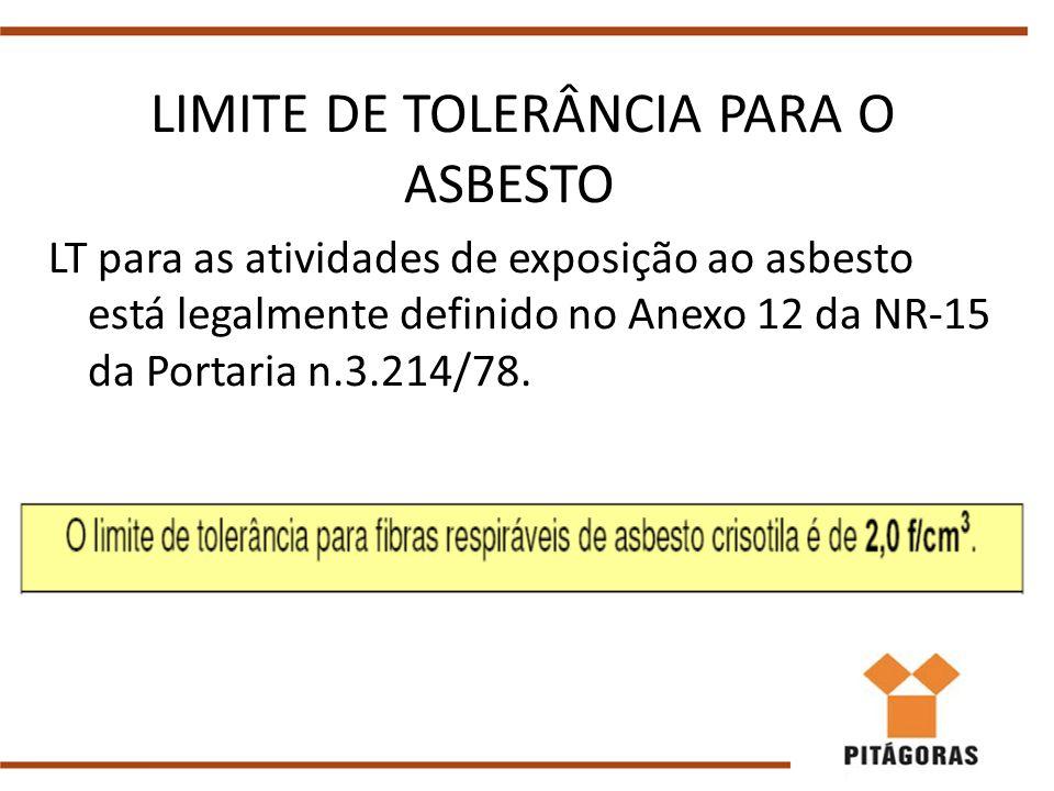 LIMITE DE TOLERÂNCIA PARA O ASBESTO LT para as atividades de exposição ao asbesto está legalmente definido no Anexo 12 da NR-15 da Portaria n.3.214/78.