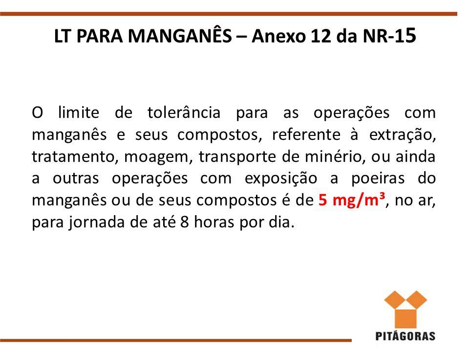 LT PARA MANGANÊS – Anexo 12 da NR-1 5 O limite de tolerância para as operações com manganês e seus compostos, referente à extração, tratamento, moagem, transporte de minério, ou ainda a outras operações com exposição a poeiras do manganês ou de seus compostos é de 5 mg/m³, no ar, para jornada de até 8 horas por dia.