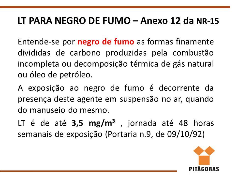 LT PARA NEGRO DE FUMO – Anexo 12 da NR-15 Entende-se por negro de fumo as formas finamente divididas de carbono produzidas pela combustão incompleta ou decomposição térmica de gás natural ou óleo de petróleo.