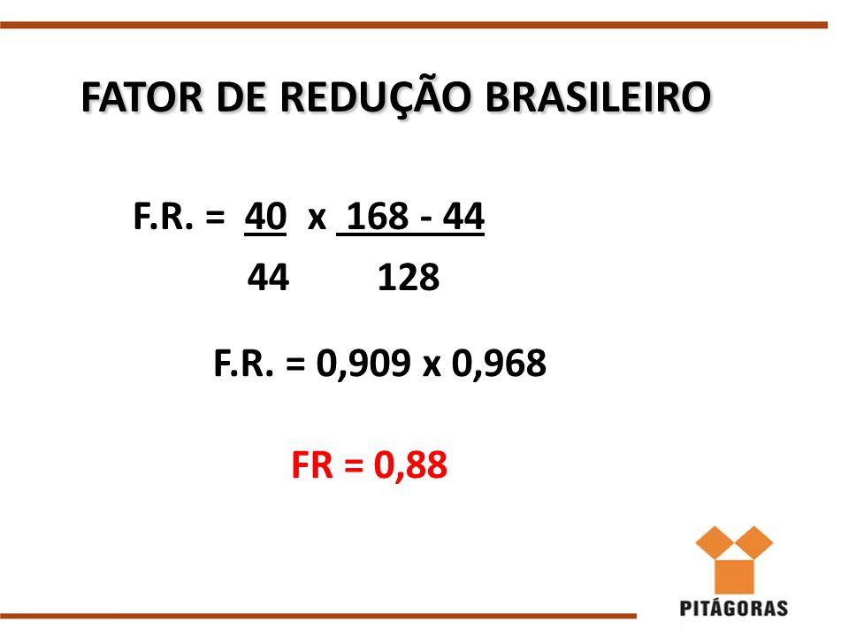 FATOR DE REDUÇÃO BRASILEIRO FATOR DE REDUÇÃO BRASILEIRO F.R. = 40 x 168 - 44 44 128 F.R. = 0,909 x 0,968 FR = 0,88