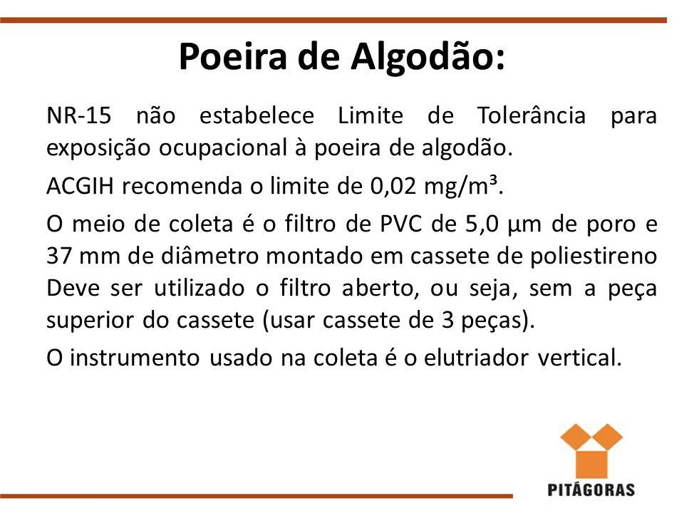 Poeira de Algodão: NR-15 não estabelece Limite de Tolerância para exposição ocupacional à poeira de algodão. ACGIH recomenda o limite de 0,02 mg/m³. O