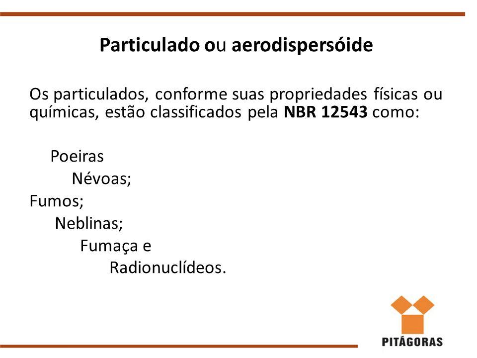 Particulado ou aerodispersóide Os particulados, conforme suas propriedades físicas ou químicas, estão classificados pela NBR 12543 como: Poeiras Névoa