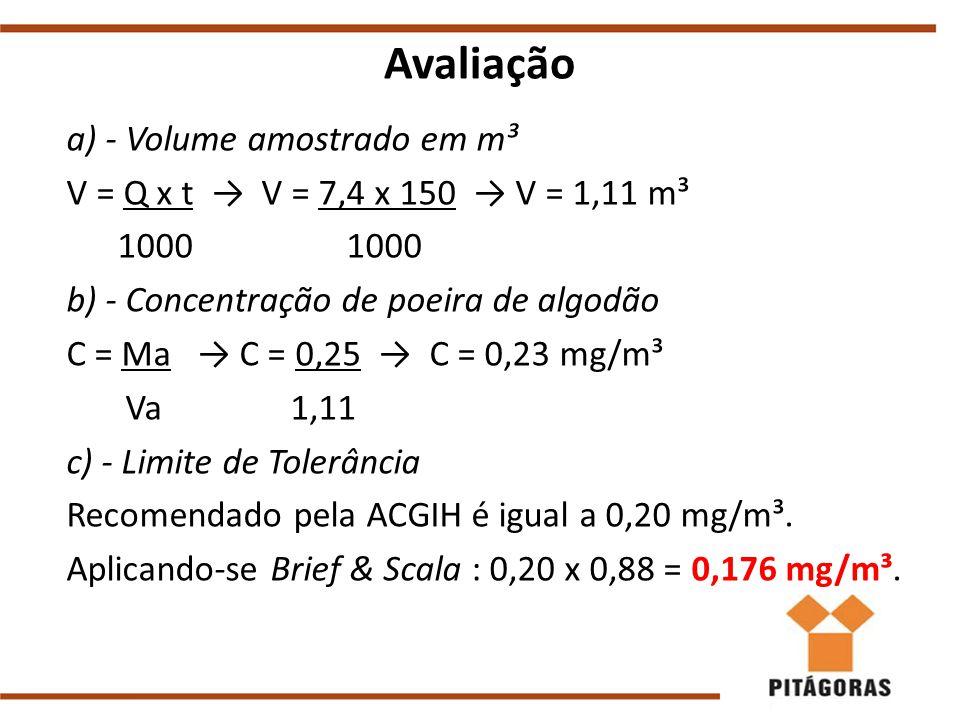Avaliação a) - Volume amostrado em m³ V = Q x t → V = 7,4 x 150 → V = 1,11 m³ 1000 1000 b) - Concentração de poeira de algodão C = Ma → C = 0,25 → C = 0,23 mg/m³ Va 1,11 c) - Limite de Tolerância Recomendado pela ACGIH é igual a 0,20 mg/m³.
