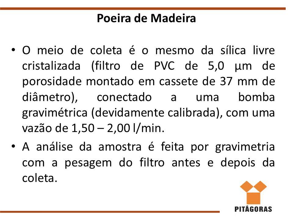 Poeira de Madeira O meio de coleta é o mesmo da sílica livre cristalizada (filtro de PVC de 5,0 μm de porosidade montado em cassete de 37 mm de diâmetro), conectado a uma bomba gravimétrica (devidamente calibrada), com uma vazão de 1,50 – 2,00 l/min.