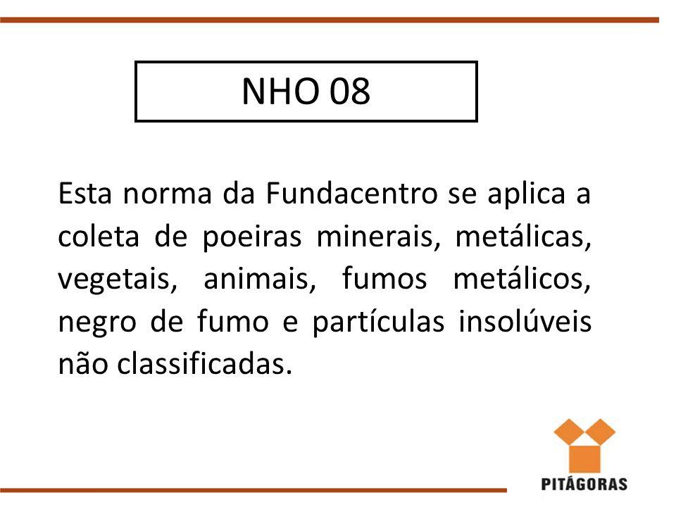 Esta norma da Fundacentro se aplica a coleta de poeiras minerais, metálicas, vegetais, animais, fumos metálicos, negro de fumo e partículas insolúveis não classificadas.