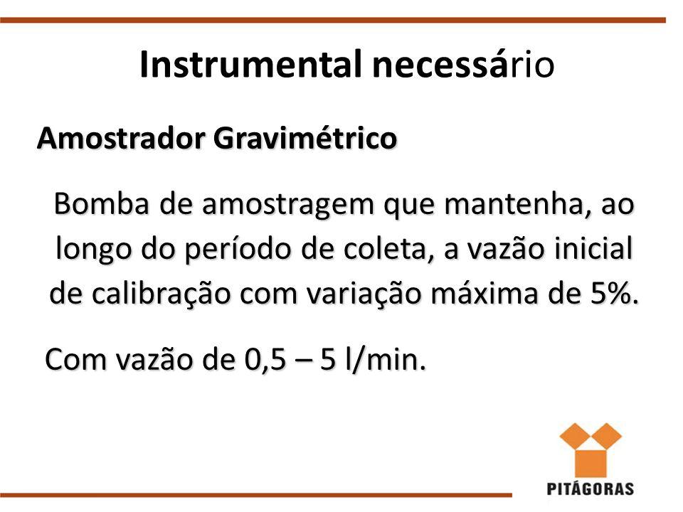 Amostrador Gravimétrico Bomba de amostragem que mantenha, ao longo do período de coleta, a vazão inicial de calibração com variação máxima de 5%. Com