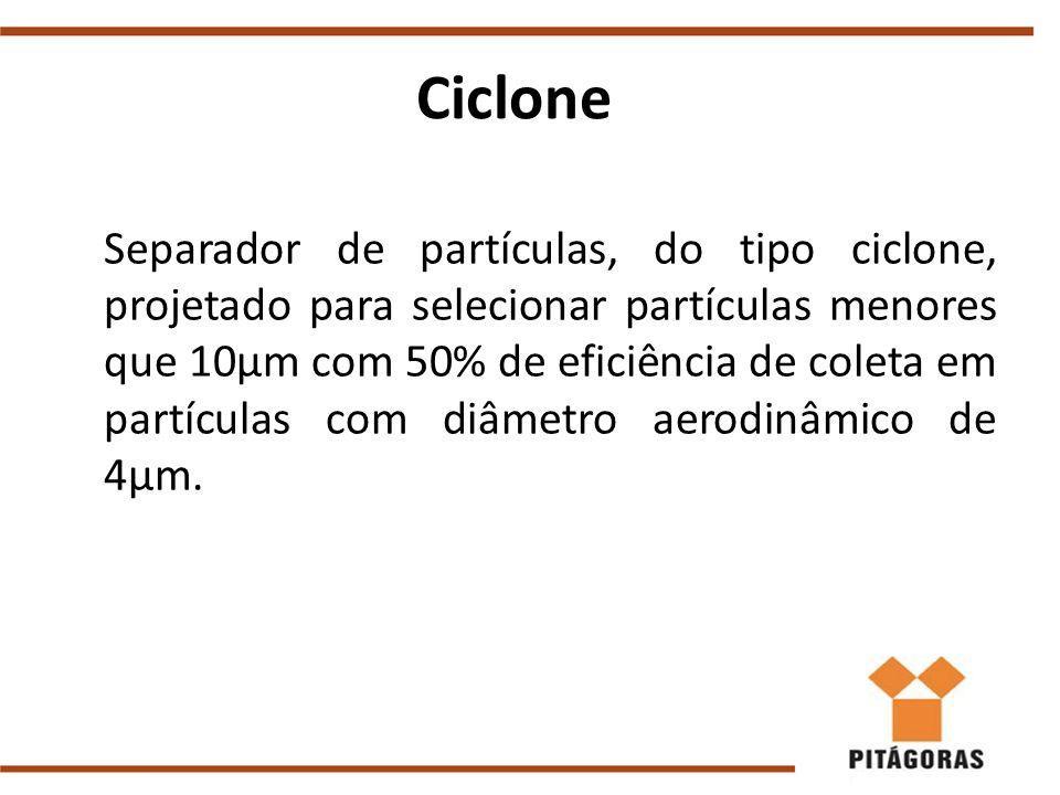 Ciclone Separador de partículas, do tipo ciclone, projetado para selecionar partículas menores que 10μm com 50% de eficiência de coleta em partículas com diâmetro aerodinâmico de 4μm.