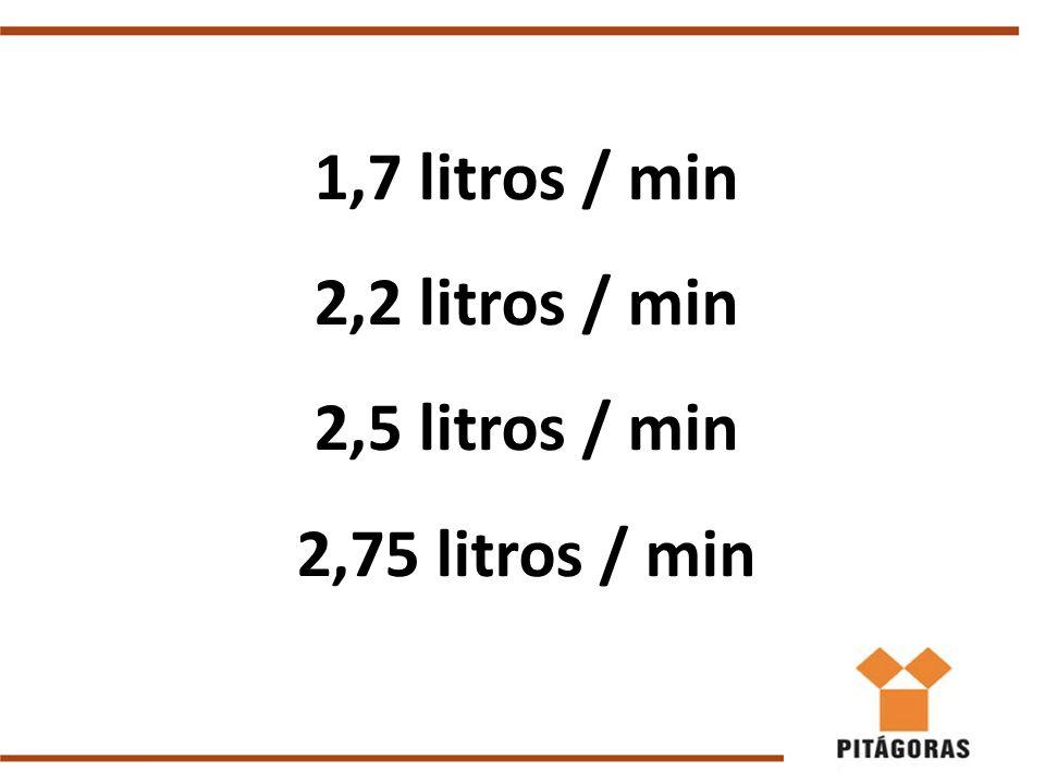 1,7 litros / min 2,2 litros / min 2,5 litros / min 2,75 litros / min Luttgardes