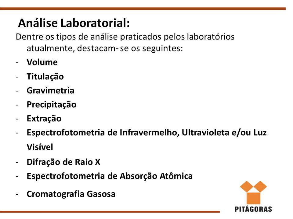 Análise Laboratorial: Dentre os tipos de análise praticados pelos laboratórios atualmente, destacam- se os seguintes: -Volume -Titulação -Gravimetria