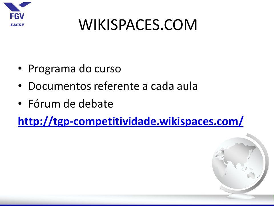 WIKISPACES.COM Programa do curso Documentos referente a cada aula Fórum de debate http://tgp-competitividade.wikispaces.com/