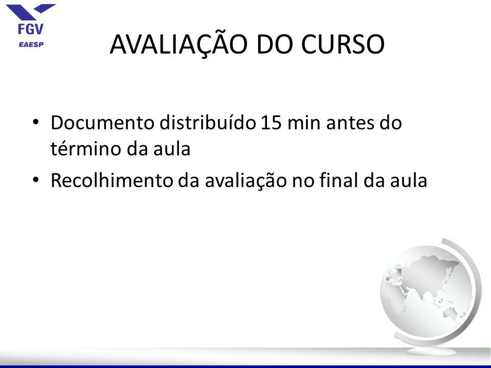AVALIAÇÃO DO CURSO Documento distribuído 15 min antes do término da aula Recolhimento da avaliação no final da aula