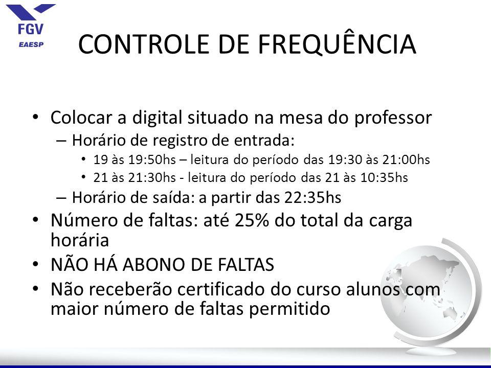 CONTROLE DE FREQUÊNCIA Colocar a digital situado na mesa do professor – Horário de registro de entrada: 19 às 19:50hs – leitura do período das 19:30 à