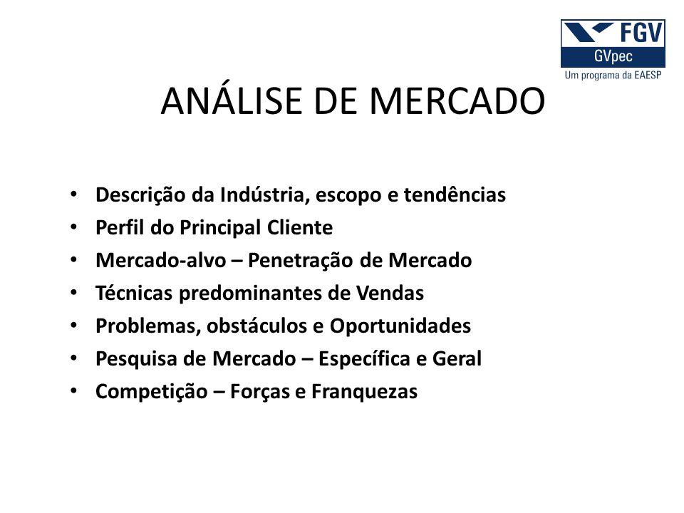 ANÁLISE DE MERCADO Descrição da Indústria, escopo e tendências Perfil do Principal Cliente Mercado-alvo – Penetração de Mercado Técnicas predominantes