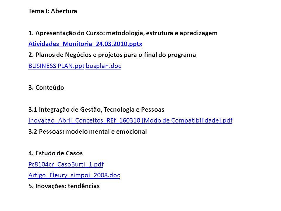 Tema I: Abertura 1. Apresentação do Curso: metodologia, estrutura e apredizagem Atividades_Monitoria_24.03.2010.pptx 2. Planos de Negócios e projetos