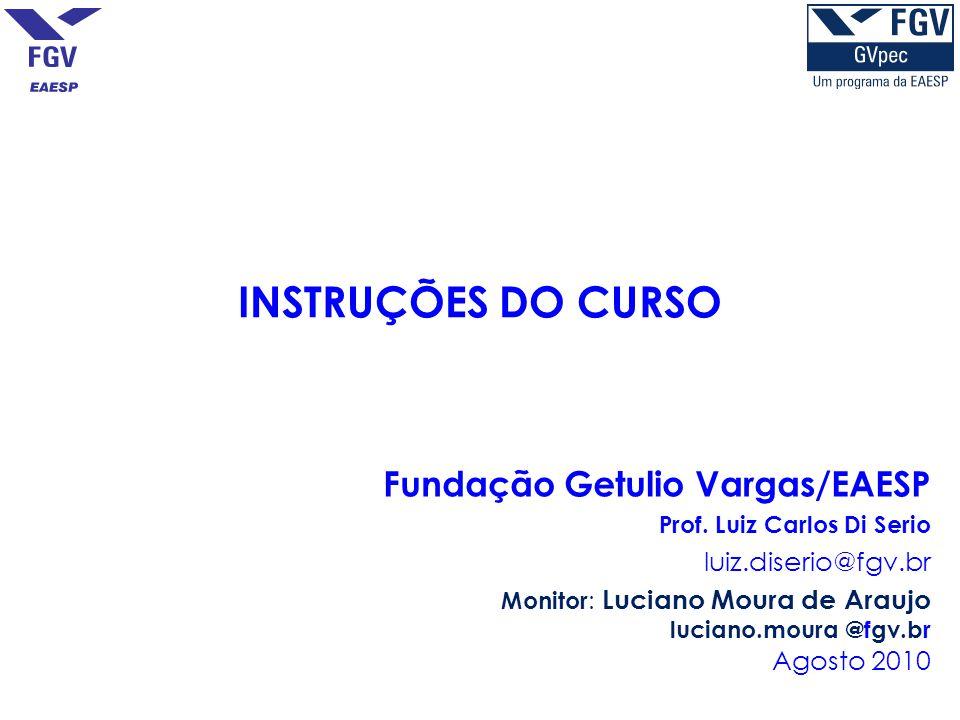 INSTRUÇÕES DO CURSO Fundação Getulio Vargas/EAESP Prof. Luiz Carlos Di Serio luiz.diserio@fgv.br Monitor : Luciano Moura de Araujo luciano.moura @fgv.