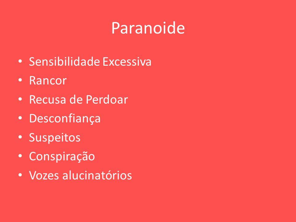 Paranoide Sensibilidade Excessiva Rancor Recusa de Perdoar Desconfiança Suspeitos Conspiração Vozes alucinatórios