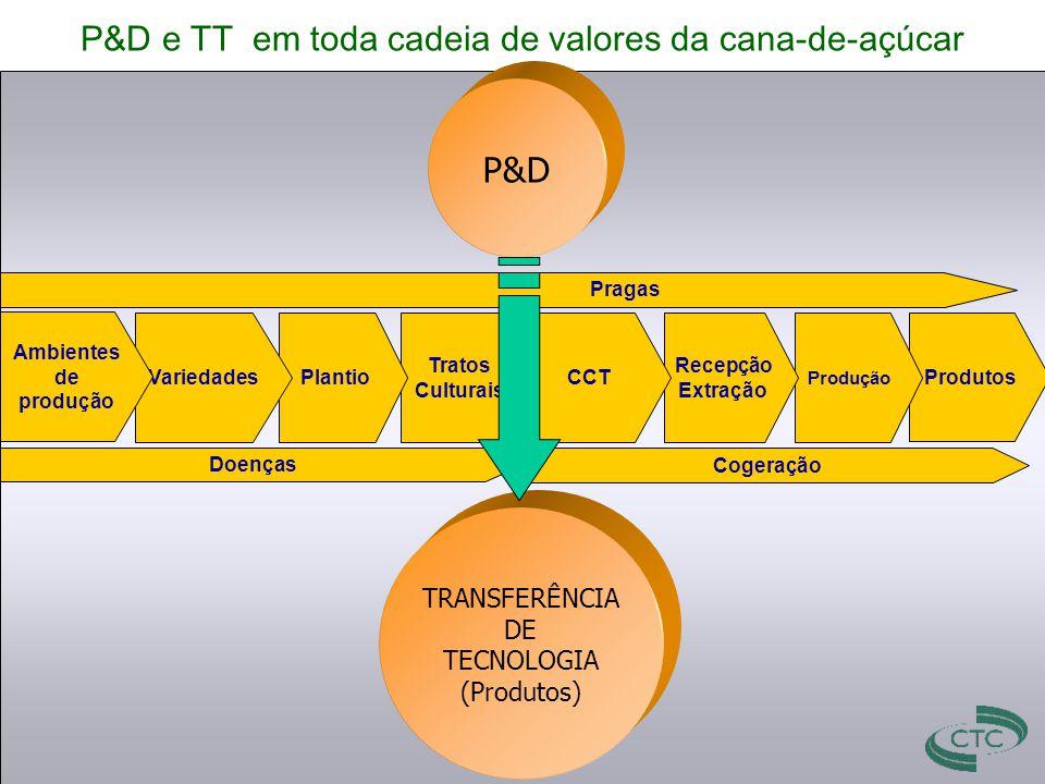 P&D e TT em toda cadeia de valores da cana-de-açúcar Produtos Produção Recepção Extração CCT Tratos Culturais PlantioVariedades Cogeração Doenças Prag