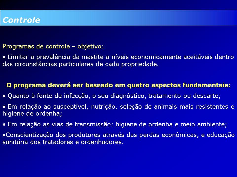Controle Programas de controle – objetivo: Limitar a prevalência da mastite a níveis economicamente aceitáveis dentro das circunstâncias particulares de cada propriedade.