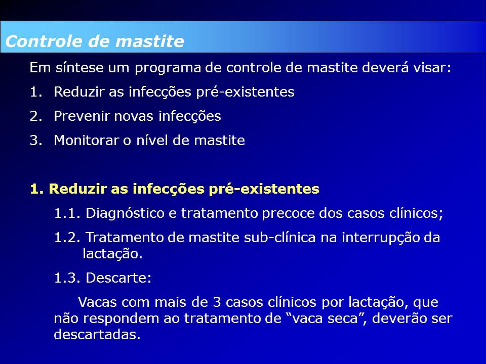 Controle de mastite Em síntese um programa de controle de mastite deverá visar: 1.Reduzir as infecções pré-existentes 2.Prevenir novas infecções 3.Monitorar o nível de mastite 1.