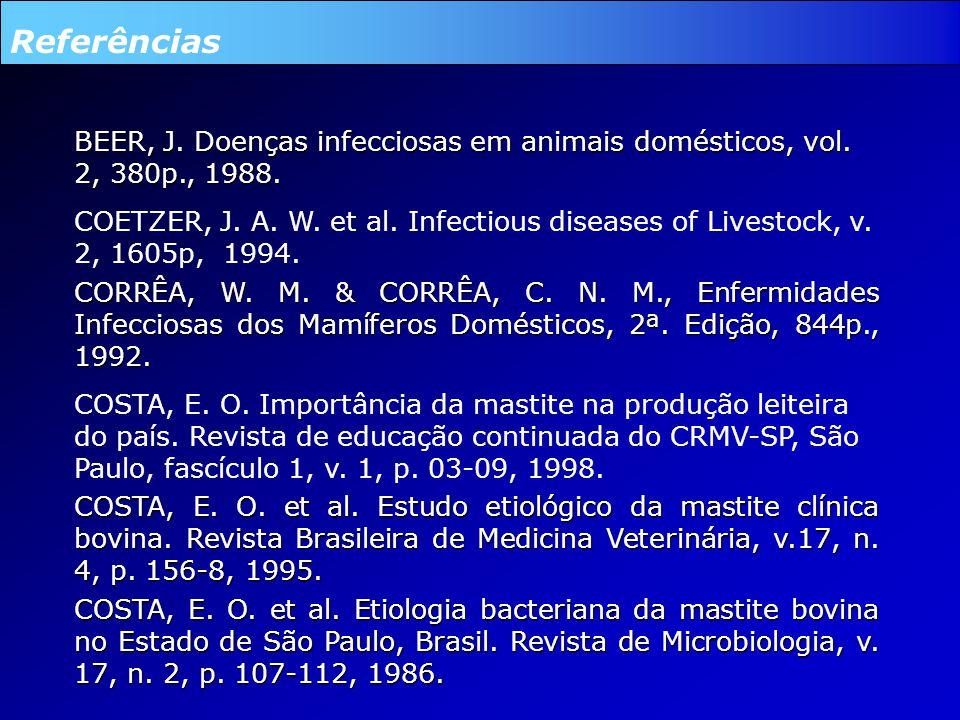 Referências BEER, J.Doenças infecciosas em animais domésticos, vol.