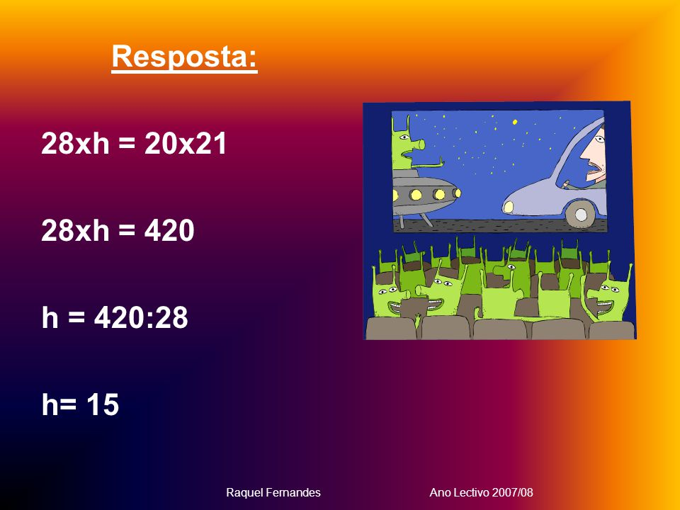 Resposta: 28xh = 20x21 28xh = 420 h = 420:28 h= 15